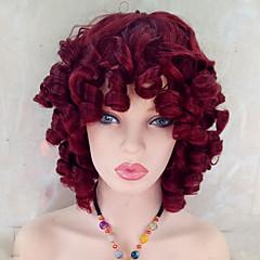 tanie Peruki syntetyczne-Włosy syntetyczne Peruki Kręcone Z grzywką Bez czepka Celebrity Wig 14-17inch Czerwony