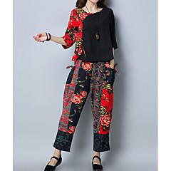 Damen Blumen Lässig/Alltäglich Druck Einfach Chinoiserie Hose 3/4 Ärmel Rundhalsausschnitt Herbst Baumwolle