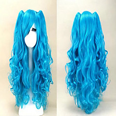 cheap Wigs & Hair Pieces-fashion 70cm long blue mixed pink wavy ponytails high quality synthetic lolita party cosplay wig