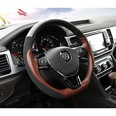 billige Rattovertrekk til bilen-Rattovertrekk til bilen ekte lær 38 cm Svart / kaffe For Volkswagen Teramont 2017