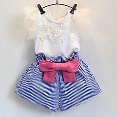 billige Tøjsæt til piger-Pige Tøjsæt Daglig Ensfarvet Stribet, Bomuld Sommer Halvlange ærmer Sødt Hvid
