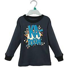 baratos Roupas de Meninos-Para Meninos Camiseta Sólido Letra Primavera Outono Algodão Manga Longa Simples Azul Real