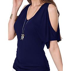 Damen Solide-Einfach T-shirt,V-Ausschnitt Aufflackern-Hülsen-