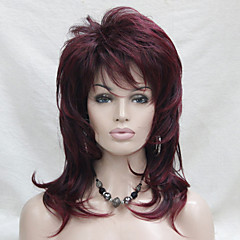 cheap Wigs & Hair Pieces-Synthetic Wig Wavy Layered Haircut With Bangs Side Part Red Women's Capless Natural Wigs Medium Synthetic Hair