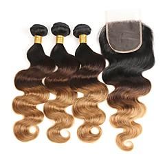 cheap Human Hair Weaves-3 Bundles with Closure Brazilian Hair Body Wave Human Hair Ombre Hair Weaves / Hair Bulk 10-26 inch Human Hair Weaves Woven / Best Quality / Silk Base Hair Human Hair Extensions