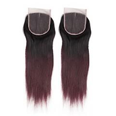 billiga Peruker och hårförlängning-Alimice förkolorerat humant hårlås med babyhår 4 * 4 remy peruvian rakt hår i mitten / fria / tre delar snittlåsning # 1b / burg 2pc