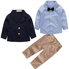 billige Tøjsæt til drenge-Baby Drenge Aktiv Fest / Skole Ensfarvet Langærmet Bomuld Tøjsæt