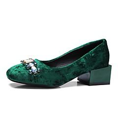 cheap Women's Heels-Women's Shoes Velvet Spring / Fall Comfort Heels Chunky Heel Square Toe Crystal Black / Green / Party & Evening