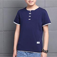 baratos Roupas de Meninos-Para Meninos Diário Sólido Camiseta, Algodão Verão Meia Manga Activo Branco Azul Marinha