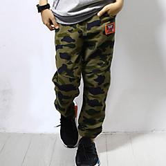 tanie Odzież dla chłopców-Spodnie Bawełna Len Włókno bambusowe Akryl Dla chłopców Codzienny Jendolity kolor Wiosna Bez rękawów Prosty Vintage Army Green