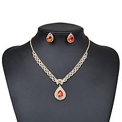 cheap Jewelry Sets-Women's Cubic Zirconia Synthetic Sapphire Rhinestone Jewelry Set 1 Necklace Earrings - Elegant Drop Flower Silver Red Blue Jewelry Set