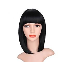 billiga Peruker och hårförlängning-Syntetiska peruker Yaki Rakt Med lugg Syntetiskt hår Naturlig hårlinje Svart Peruk Dam Mellanlängd Utan lock Kolsvart