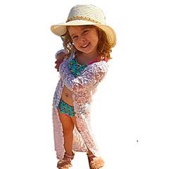 billige Jakker og frakker til piger-Pige Jakkesæt og blazer Daglig I-byen-tøj Ensfarvet Jacquard Vævning, Bomuld Akryl Forår Sommer Langærmet Vintage Sødt Hvid
