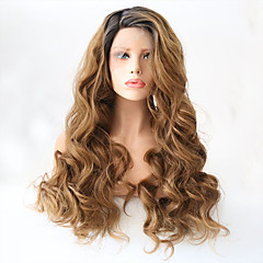 cheap Wigs & Hair Pieces-Synthetic Lace Front Wig Women's Wavy Golden Layered Haircut Synthetic Hair Heat Resistant Golden Wig Long Lace Front Black / Strawberry Blonde / Yes