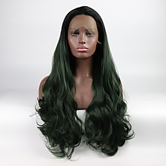 cheap Wigs & Hair Pieces-Synthetic Lace Front Wig Women's Natural Wave Black Layered Haircut Synthetic Hair Color Gradient / Middle Part Black / Green Wig Mid Length Lace Front Black / Dark Green