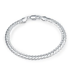 cheap Men's Jewelry-Men's Women's Silver Plated Snake Chain Bracelet - Classic Basic Silver Bracelet For Daily Work