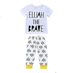 billige Tøjsæt til piger-Baby Unisex Afslappet Daglig / Ferie Trykt mønster Stilfuldt Kortærmet Normal Normal Bomuld Tøjsæt Hvid 100