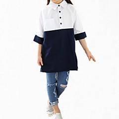 billige Pigetoppe-Børn Pige Simple Ensfarvet / Trykt mønster Kortærmet Bomuld Skjorte / Sødt