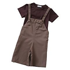 billige Tøjsæt til piger-Børn Pige Ensfarvet Tunika Kortærmet Bomuld Tøjsæt / Sødt