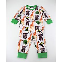 billige Tøjsæt til drenge-Drenge Tøjsæt Daglig Dyretryk Farveblok, Bomuld Forår Efterår Langærmet Aktiv Grøn