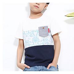 baratos Roupas de Meninos-Infantil Para Meninos Simples Estampa Colorida Manga Curta Algodão Camiseta