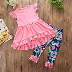 billige Tøjsæt til piger-Pige Tøjsæt Daglig I-byen-tøj Ensfarvet Blomstret, Bomuld Polyester Sommer Uden ærmer Sødt Afslappet Lyserød