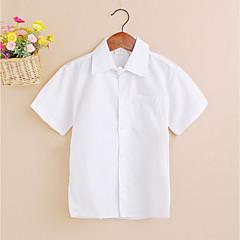 billige Overdele til drenge-Børn Drenge Simple / Afslappet Ensfarvet Kortærmet Bomuld Skjorte