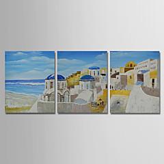 voordelige Muurkunst-Hang-geschilderd olieverfschilderij Handgeschilderde - Abstract Landschap Modern Inclusief Inner Frame / Drie panelen / Uitgerekt canvas