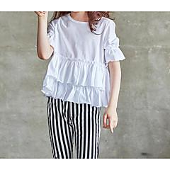 billige Pigetoppe-Baby Pige Simple Daglig Ensfarvet Halvlange ærmer Polyester T-shirt Hvid 100