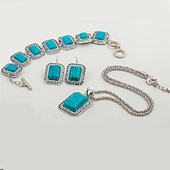 baratos Conjuntos de Bijuteria-Mulheres Turquesa Conjunto de jóias - Resina Étnico, Fashion Incluir Azul Para Festa / Festa de Noite / Brincos