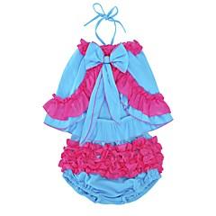 billige Tøjsæt til piger-Baby Pige Daglig / Ferie Dyr Lag-på-lag Uden ærmer Normal Bomuld / Polyester Tøjsæt Blå 100 / Sødt