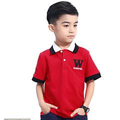 billige Gutteklær-Gutt Daglig T-skjorte Ensfarget Bomull Sommer Kortermet Enkel Blå Rød
