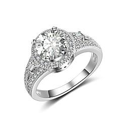 billige Motering-Dame Kubisk Zirkonium Band Ring - Zirkonium, Sølvplett Klassisk, Vintage, Elegant 6 / 7 / 8 Sølv Til Bryllup Engasjement Seremoni