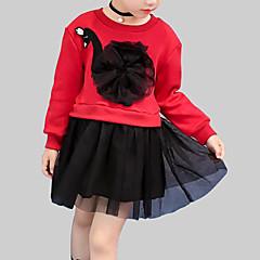 baratos Roupas de Meninas-Menina de Vestido Diário Para Noite Retalhos Primavera Outono Raiom Poliéster Manga Longa Fofo Moda de Rua Branco Vermelho