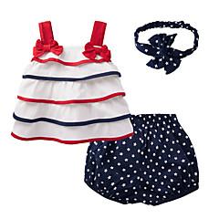 billige Sett med babyklær-Baby Pige Galakse Sløjfer Uden ærmer Bomuld Tøjsæt / Sødt