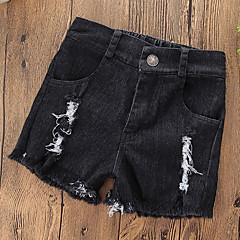 billige Bukser og leggings til piger-Baby Pige Simple / Afslappet Daglig / I-byen-tøj Ensfarvet Stilfuldt / Blondér / Ribbet Bomuld / Polyester Jeans Blå