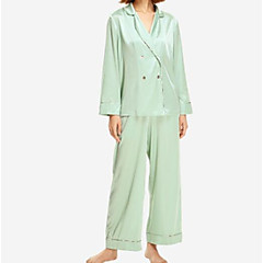 billige Moteundertøy-Dame Sateng og silke Pyjamas - Ensfarget, Blonde
