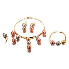 baratos Conjuntos de Bijuteria-Mulheres Conjunto de jóias - Chapeado Dourado Fashion, Importante Incluir Dourado Para Casamento / Festa / Brincos