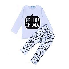 billige Tøjsæt til piger-Unisex Daglig Ferie Geometrisk Tøjsæt, Bomuld Forår Efterår Langærmet Afslappet Hvid