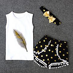 billige Tøjsæt til piger-Pige Daglig Prikker Tøjsæt, Bomuld Polyester Forår Sommer Uden ærmer Sødt Aktiv Hvid