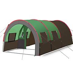 billige Telt og ly-Hewolf 10 personer Familie Camping Telt Dobbelt Lagdelt Stang tunnel camping Tent Tre Rom Utendørs Lettvekt, Regn-sikker, Anti-Skli til Fisking / Camping / Vandring / Grotte Udforskning / Reise