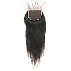 cheap Wigs & Hair Pieces-Laflare Peruvian Hair 4x4 Closure Straight Free Part / Middle Part / 3 Part Swiss Lace Remy Human Hair Silky / New Arrival