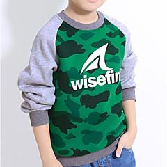 billige Hættetrøjer og sweatshirts til drenge-Baby Drenge Aktiv Daglig / Skole Trykt mønster Langærmet Bomuld Hættetrøje og sweatshirt Grøn