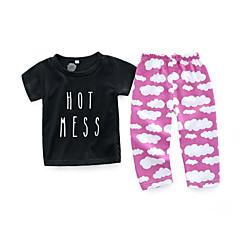 billige Sett med babyklær-Baby Pige Tøjsæt Daglig Galakse, Bomuld Forår Sommer Kortærmet Simple Sort