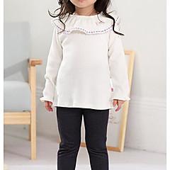billige Pigetoppe-Baby Pige Gade Daglig Ensfarvet Langærmet Polyester T-shirt Beige 100