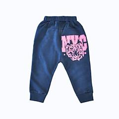 billige Bukser og leggings til piger-Spædbarn Unisex Simple / Aktiv Daglig / Sport Trykt mønster Dyre Mønster Langærmet Bomuld / Polyester Bukser Navyblå
