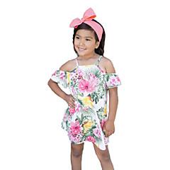 baratos Roupas de Meninas-Menina de Vestido Floral Verão Algodão Poliéster Manga Curta Fofo Casual Arco-íris