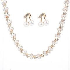 tanie Zestawy biżuterii-Damskie Cyrkonia Pearl imitacja Imitacja pereł Cyrkon Biżuteria Ustaw Zawierać 1 Naszyjnik Náušnice - Urocza Modny Geometric Shape