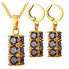 tanie Zestawy biżuterii-Damskie Cyrkon Biżuteria Ustaw Zawierać Náušnice Wisiorek 1 PC - Modny Kolczyki koła Naszyjniki z wisiorkami Na Codzienny