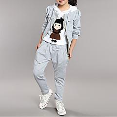 billige Hættetrøjer og sweatshirts til piger-Børn Pige Tegneserie Patchwork Langærmet Bomuld Tøjsæt